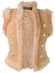 Balmain Reversible Shearling Gilet Nude And Neutrals