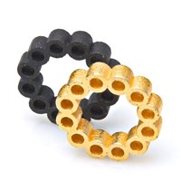 Heart And Noble Fanatic Matte Gold Black Steel Circle Ring Duo12
