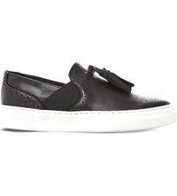 Dune Etsie Tassel Brogue Slip On Trainers Black Leather
