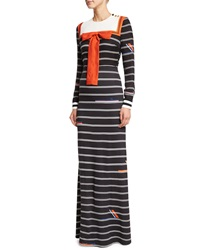 Preen By Thornton Bregazzi Long Sleeve Striped Sailor Bib Dress Black Stripes