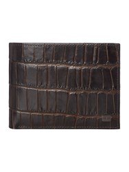 Tommy Hilfiger Tailored Croc Coin Pocket Wallet Brown