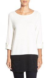 Petite Women's Caslon Knit Tunic Ivory Black Colorblock
