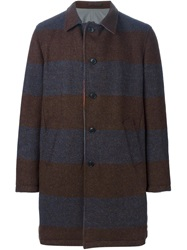 Wooster Lardini Reversible Striped Coat Brown