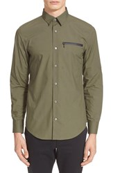 Men's Opening Ceremony Slim Fit Brushed Poplin Zip Pocket Shirt Army Green