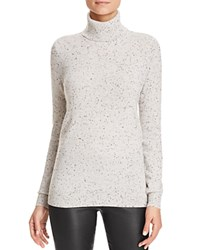 Bloomingdale's C By Cashmere Turtleneck Sweater Light Grey Donegal
