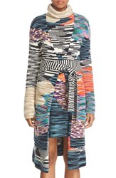 Missoni Women's Space Dye Intarsia Wool Blend Wrap Long Cardigan