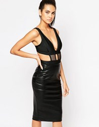 Wow Couture Mesh Insert Cut Out Body Black