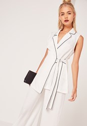 Missguided Contrast Piped Sleeveless Long Waistcoat White White