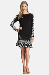 Cece By Cynthia Steffe Jacquard Flounce Hem Sweater Skirt Rich Black