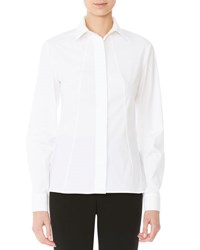 Carolina Herrera Long Sleeve Poplin Blouse White