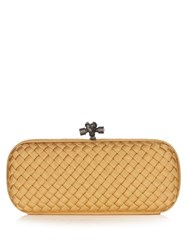 Bottega Veneta Knot Satin Twill Intrecciato Clutch Gold