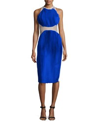 Stella Mccartney Sleeveless 2 Tier Plisse Dress Blue