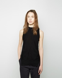 Sayaka Davis Curved Stripe Knit Tank Black