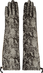 Lanvin Black Snakeskin Patterned Mid Length Gloves