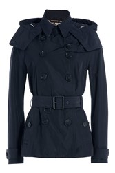 Burberry Brit Waterproof Trench Jacket With Hood Blue
