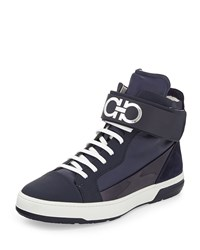 Salvatore Ferragamo Night Napa Patent High Top Sneaker With Ankle Strap Navy Men's Size 6.0Ee Blue