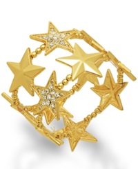 Bar Iii Gold Tone Pave Stars Stretch Bracelet