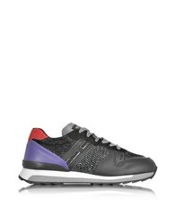 Hogan Rebel Running R261 Black And Purple Leather High Tech Fabric And Lurex Women's Sneakers
