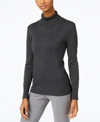Cable And Gauge Ribbed Turtleneck Sweater Charcoal Heather