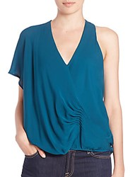 Haute Hippie One Shoulder Silk Blouse Blue