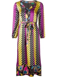 Duro Olowu Polka Dot Buttoned Dress Pink And Purple