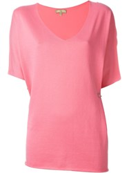 Fay Relaxed Fit Fold Pin Detail V Neck Top Pink And Purple