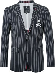 Loveless Chalk Stripe Two Button Blazer Blue