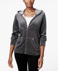 Karen Scott Petite Embellished Velour Hoodie Only At Macy's Charcoal Heather