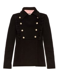 Gucci Ruffle Trimmed Wool Jacket Black