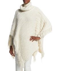 Ralph Lauren Turtleneck Poncho W Fringe Trim Cream