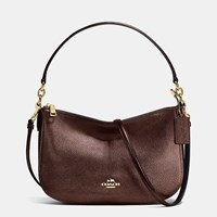 Coach Chelsea Crossbody In Polished Pebble Leather Light Gold Bronze