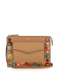 Fendi 2Jours Mini Embellished Leather Cross Body Bag Beige Multi