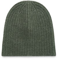 Alex Mill Ribbed Cashmere Beanie Army Green