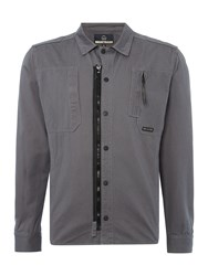 Duck And Cover Gattaca Large Check Overshirt. Slate