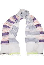 Lemlem Tebteb Striped Cotton Blend Scarf Purple
