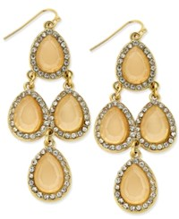 Inc International Concepts Gold Tone Teardrop Stone And Pave Chandelier Earrings Only At Macy's