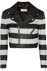 Saint Laurent Striped Leather Jacket