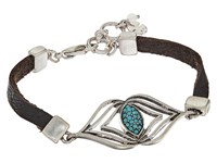 Lucky Brand Leather Feather Bracelet Silver Bracelet