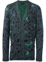 Lanvin Paneled Tiger Print Cardigan Grey