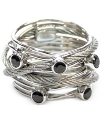 Charriol Women's Silver Tone Black Spinel Cable Ring