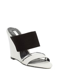 Schutz Creuza Wedge Mules Black White