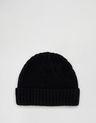 Asos Lambswool Blend Rib Fisherman Beanie In Black Black
