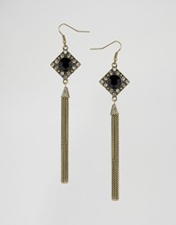 Ny Lon Nylon Statement Drop Earrings Rustic Gold Black Beige