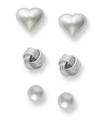 Giani Bernini Sterling Silver Earrings Set Sterling Silver Bead Love Knot And Heart Stud Earrings