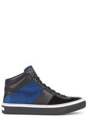 Jimmy Choo Belgrave Panelled Leather Hi Top Trainers