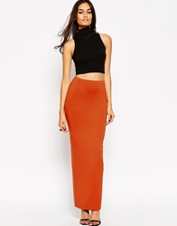 Asos Maxi Tube Skirt With Back Vent Rust