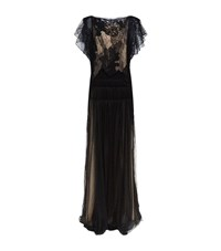 Chloe Embroidered Lace Pleated Gown Female Black
