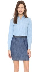 Dsquared Long Sleeve Denim Dress Blue
