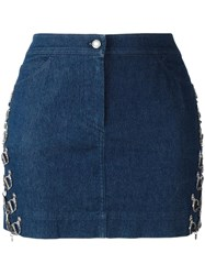 Christian Dior Vintage Logo Chain Embellished Skirt Blue