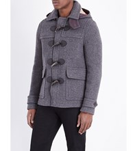 Burberry Wool Blend Duffle Coat Mid Grey Melange